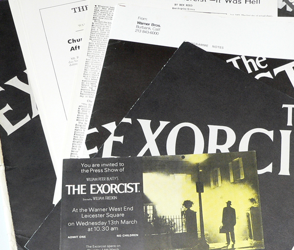 The Exorcist 1971 Press Pack including Press Pass for Warner West End, Leicester Square. William Peter BLATTY.