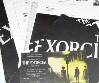 The Exorcist 1971 Press Pack including Press Pass for Warner West End, Leicester Square. William...